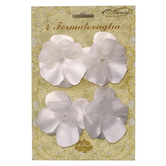 Tafelkleed klemmen witte bloemen 4 stuks