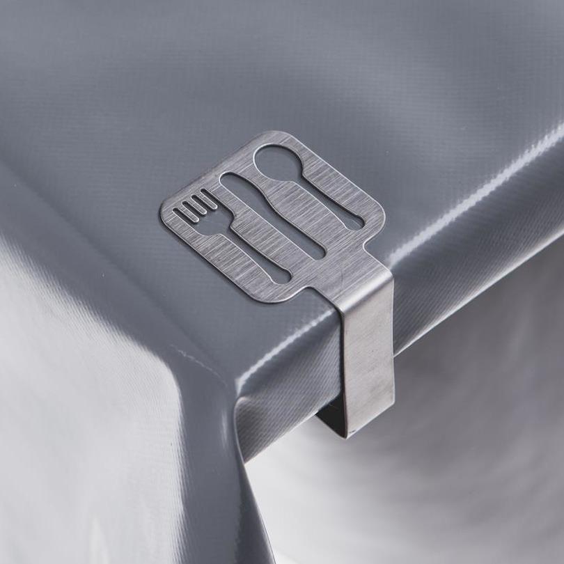 4x tafelkleed klemmen zilver met bestek uitsnede 4 7 x 4 5 cm rvs