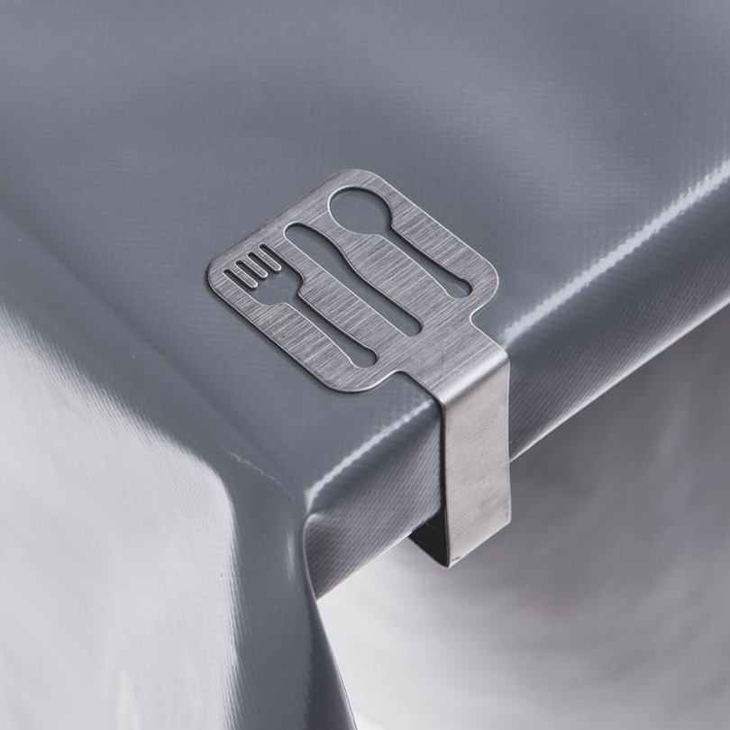 16x tafelkleed klemmen zilver met bestek uitsnede 4 7 x 4 5 cm rvs