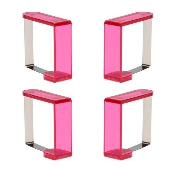 12x stuks roze tafelkleed klemmen