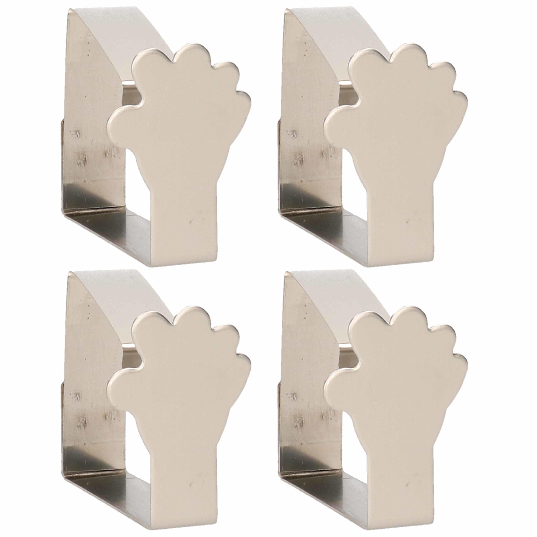 4x tafelkleed klemmen zilveren handen 4 cm